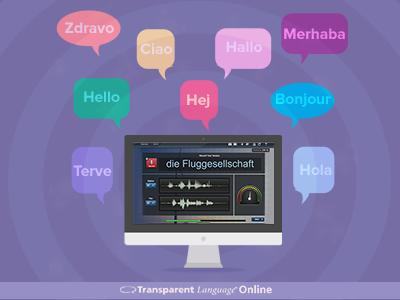 Marketing Graphic  purple language graphic speech imac software application