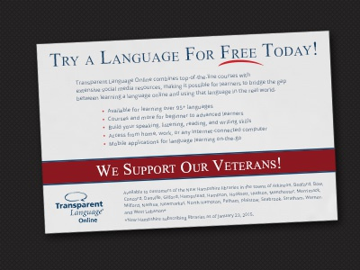 Learn a Language ad for our veterans. ad print american veteran transparent language