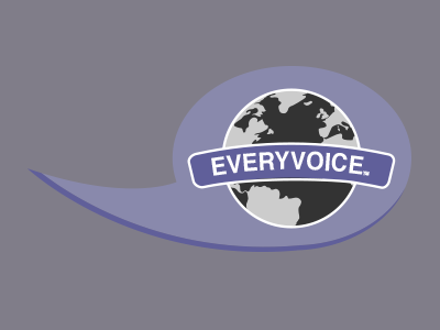 Maybe? logo world globe purple communication