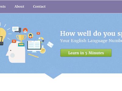 Language Proficiency Page illustration language homepage purple blue button