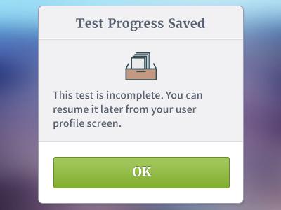 Progress saved modal button modal icon