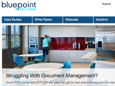 Re-design for Bluepoint Solutions bluepoint blue ux clean navigation menu