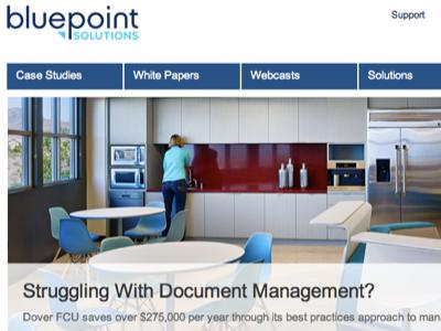 Re-design for Bluepoint Solutions bluepoint blue ux clean navigation menu