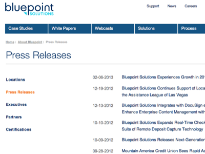 Re-design for Bluepoint Solutions -press releases bluepoint blue ux clean navigation menu