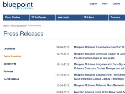 Re-design for Bluepoint Solutions -press releases bluepoint blue ux clean navigation menu