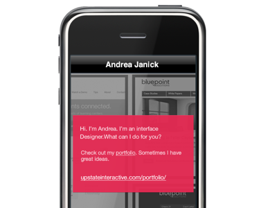 iPhone shot of simple landing page ios html css opacity transparency portfolio helvetica