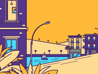 Where is Pablo ? buildings palm trees landscape illustration