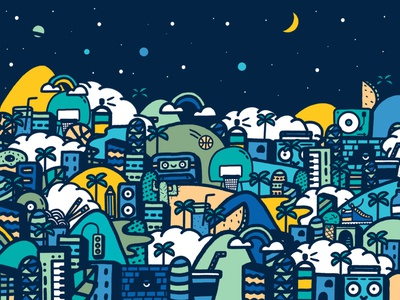 Feel Curious night blue explore city drawing illustration doodle art doodle curious skullcandy
