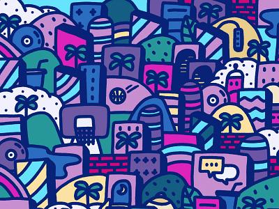 Urban Jungle playground basketball palm trees landscape jungle urban doodle drawing procreate