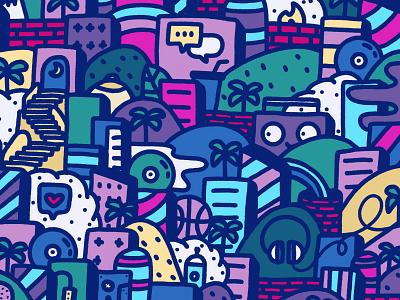 Jungle 2/3 tits bricks procreate drawing landscape boombox headphones palm trees urban jungle