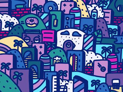 Jungle 3/3 landscape rain procreate drawing doodle urban