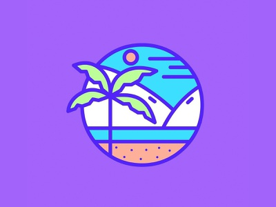 Summer minimalism shape round geometric beach summer palm tree