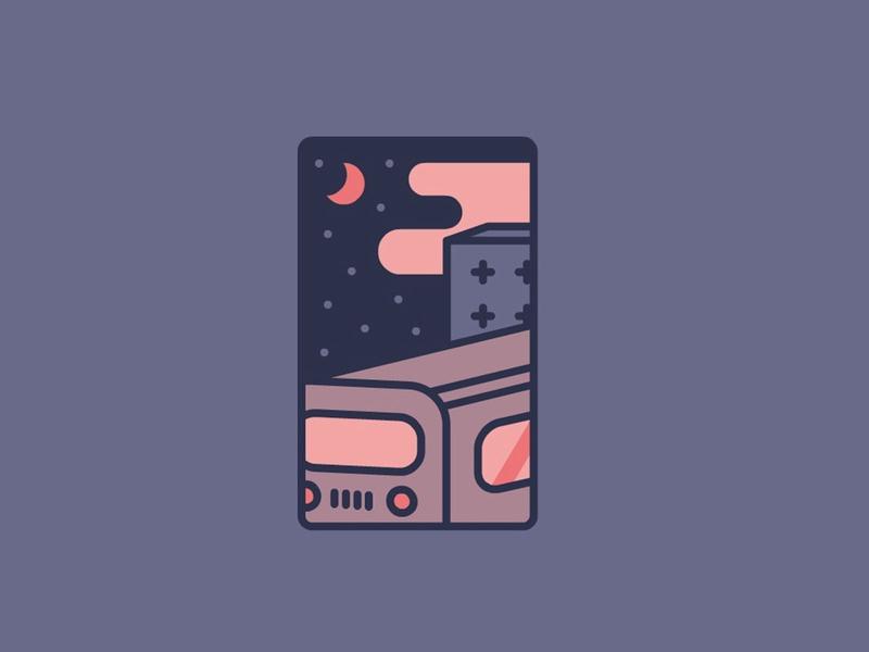 The last train urban moonlight moon minimalism shape geometric illustration night train