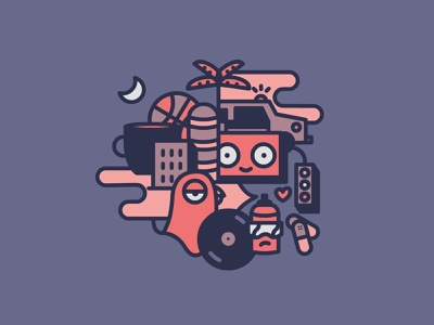 A day in the city palm tree moon basketball police car boombox pigeon medicine heart spray tag vinyl coffee city