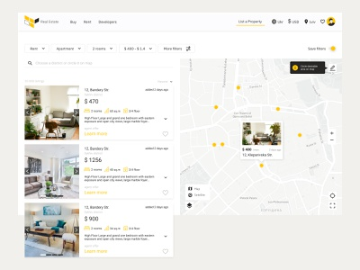 Real Estate search bar cards ui map realestate uidesign