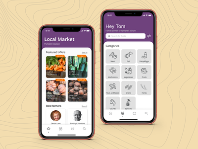 Mobile app for local market app design bright colors delivery app food delivery app clear ui uidesign
