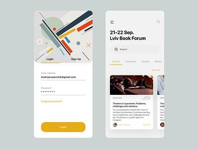 Event app concept book app design app ui clear uidesign
