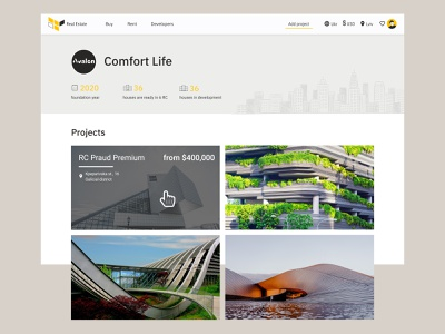 Real Estate hero section realestate webdesign clear ui uidesign