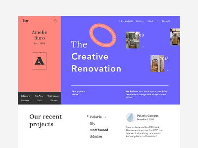 Interior design studio landing page bright colors interiordesign webdesign clear ui uidesign