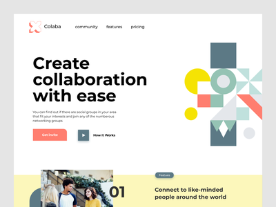 Collaboration Website hero section bright colors collaborate webdesign clear ui uidesign