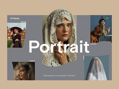 Portrait typography concept clean website ui web minimalism interface design