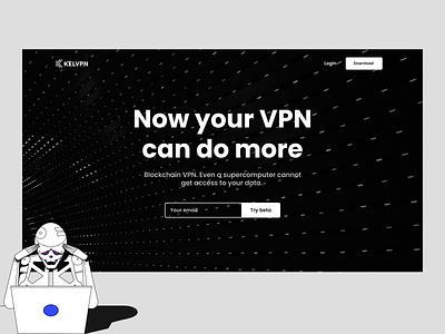 Kelvpn — Blockchain VPN web design webdesign homepage black typography clean website web ui minimalism interface design