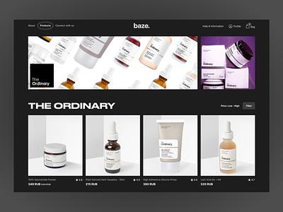Baze. shop cosmetics shop black theme dark ui ux web design typography clean website web ui minimalism interface design