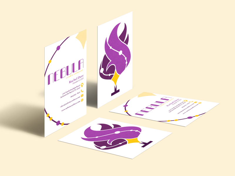 Nebula Candle Company - Business Cards collateral print collateral print identity branding graphic design design cards business cards candle nebula