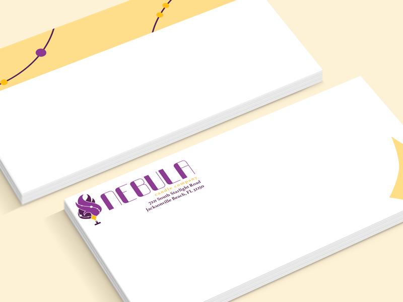Nebula Candle Company - Envelope branding identity collateral print collateral print nebula graphic design design envelope