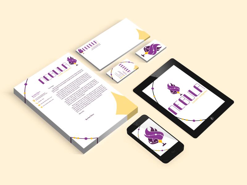 Nebula Candle Company - Print Collateral card business card envelope letterhead identity branding graphic design design print print collateral candle nebula
