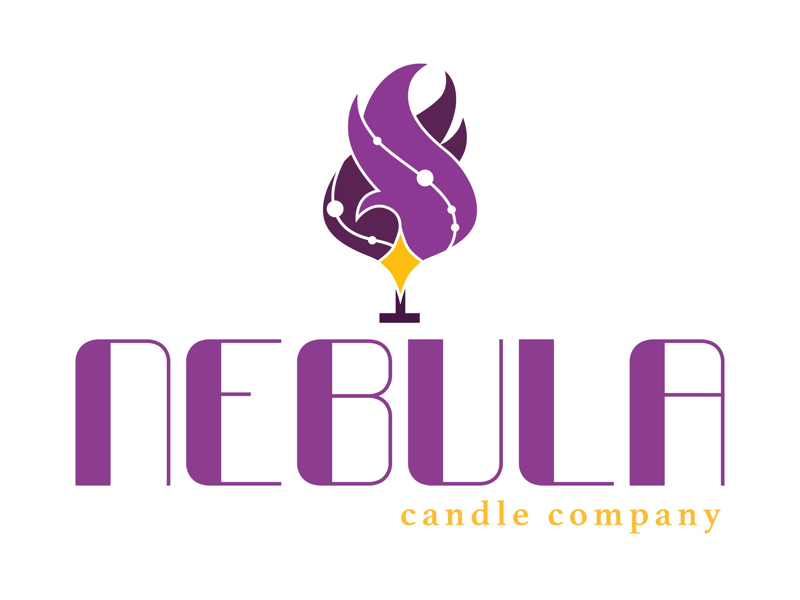 Nebula Candle Company - Logo star flame space galaxy typography icon identity branding brand logo candle nebula