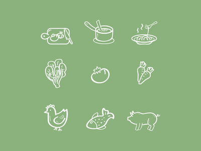 Food Icons icons handrawn stroke custom hosting set icon marketing website branding design web