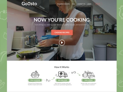 Gousto Landing Page website food recipe cooking landing