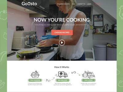 Gousto Landing Page website food recipe cooking landing