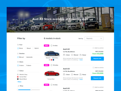 Stock cars page results results stock filters commerce cars listing flat