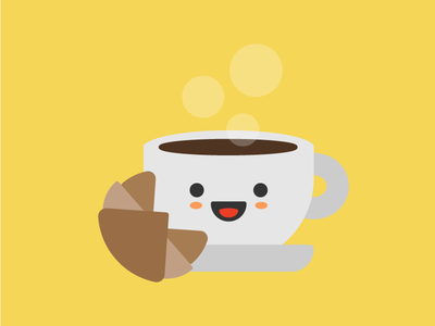 Na tazzulell e cafè cup icon illustration cute breakfast croissant italian coffee