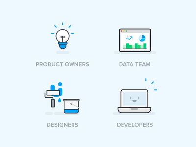 Different teams  team product data developer designer cute illustration