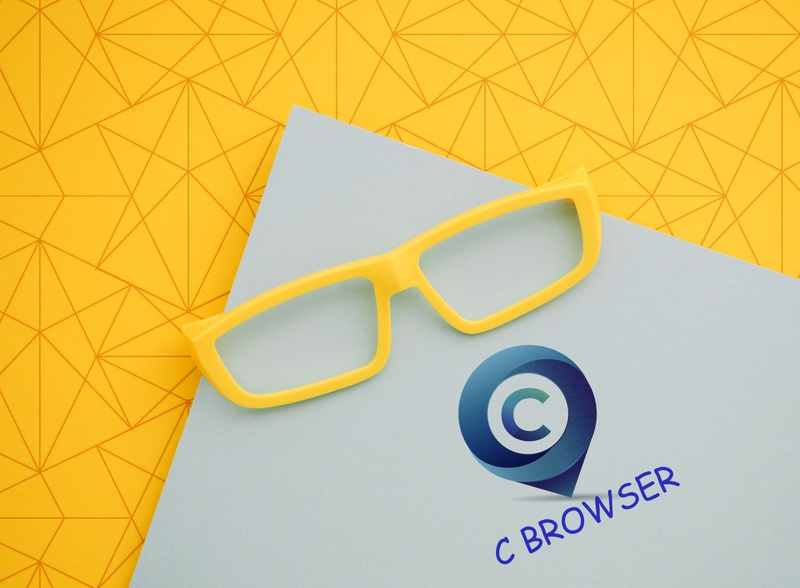 cc browser logo with 3d mocup