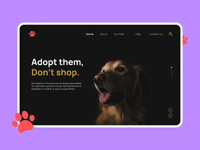 Paws - Pet Adoption Landing Page landing page web design ui adopt sri lanka puppy dogs animals zoo cat adoption