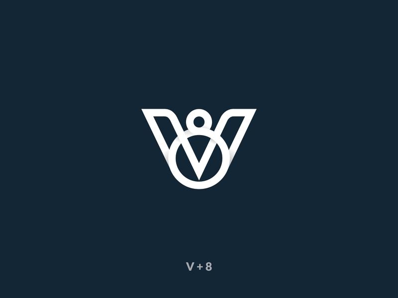 V-8  Logo Mark Design minimalist ui branding logo 2020 flat ux vector icon logo logo mark