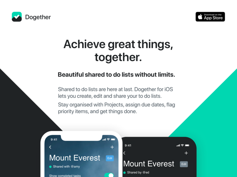 Dogether landing page todolist todoapp todo landing madebyew dogether