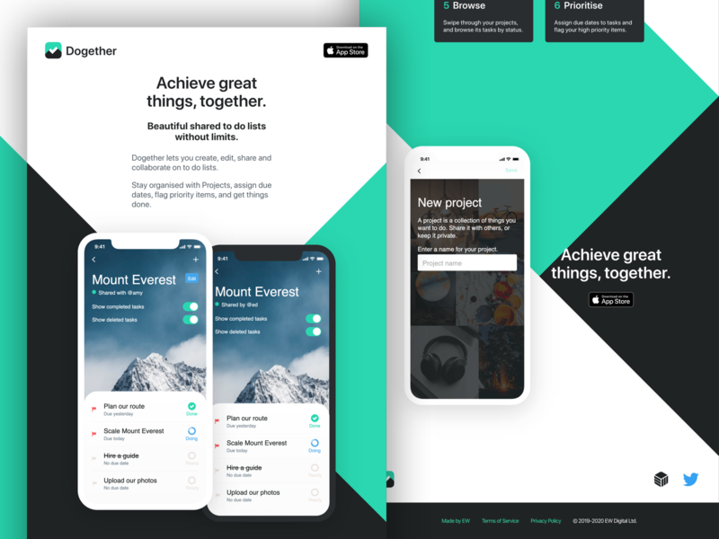 Dogether landing page close-up todolist todo app todo madebyew landingpage landing dogether
