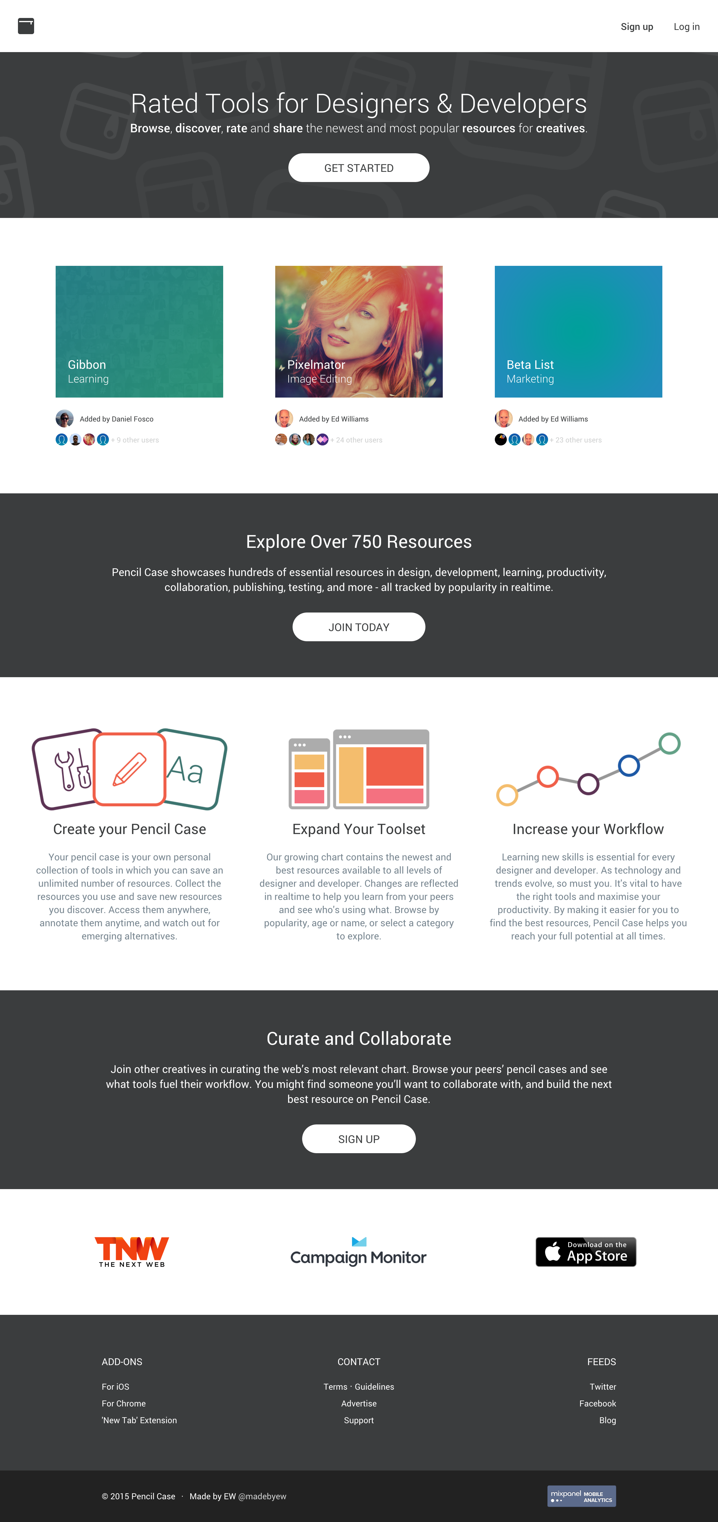 Pencil case landing page full