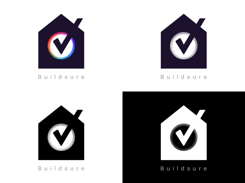Buildsure Logo Variants builsure logo house home tick build sure ewdigital madebyew