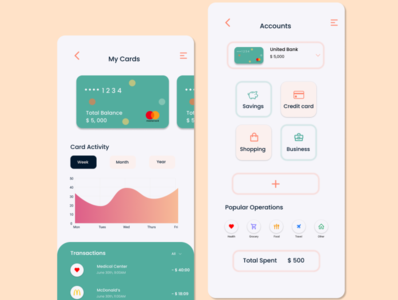 Credit card app typography ux design figma