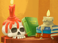 Books, candles, and a skull