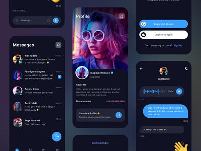 Hideung Chat App dark app xd sketch figma illustration clean branding communication profile application social design social media chat app ios mobile ux design ui design uiux mobile app app