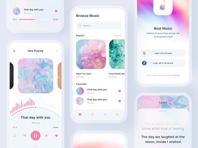 Music Mobile App layout branding ui kit ui kits ios mobile ux design uiux application app music player colorful illustration icon clean app audio app music ui design mobile app music app