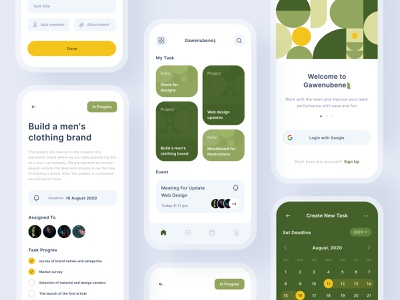Task Management screen mobile design app design clean app minimalist layout iconography icon task management daily app management app task green illustration ux design ui design uiux mobile app app