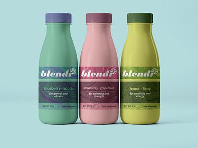 Blendr Juice label design label packaging packaging design package design packaging fruit bottle label bottle adobe illustrator crystals juice label food label label juice
